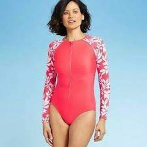 All In Motion Red and White One-Piece Swim M